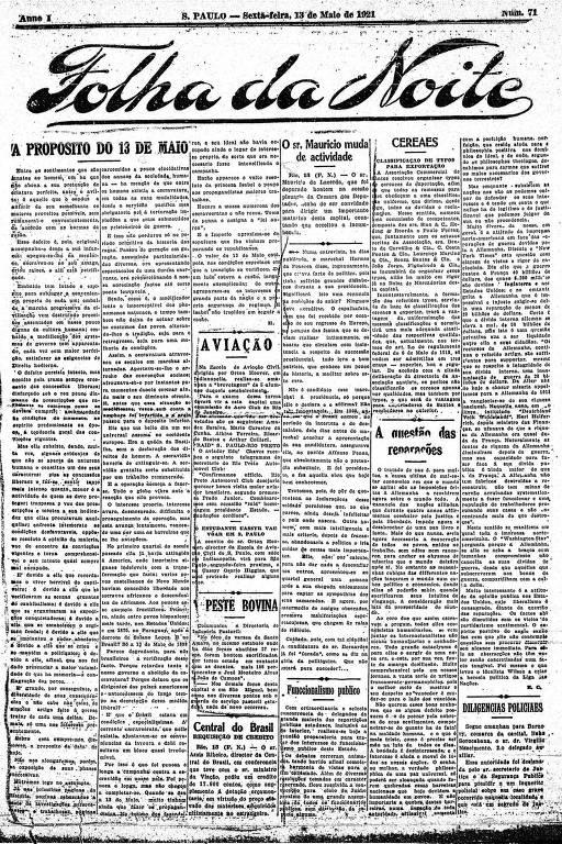 Primeira Página da Folha da Noite de 13 de maio de 1921