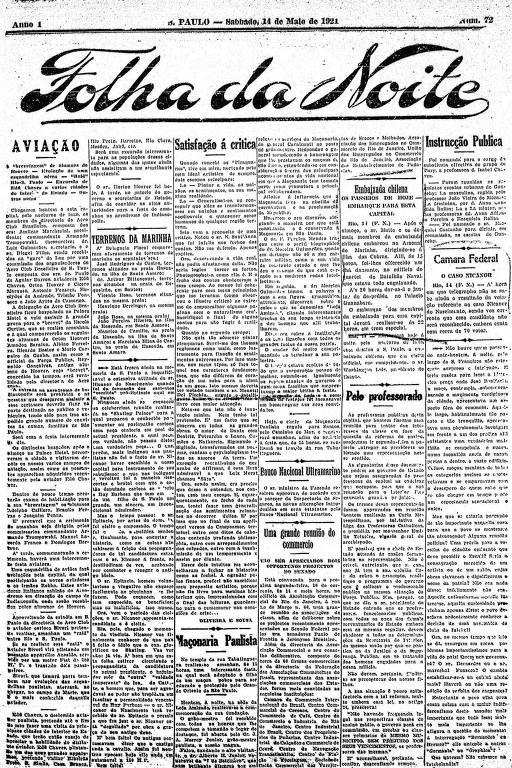 Primeira Página da Folha da Noite de 14 de maio de 1921