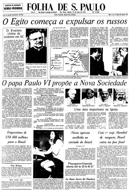 Primeira Página da Folha de 15 de maio de 1971