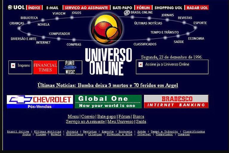 Primeira home do UOL, com Universo Online no centro de uma página azul escura