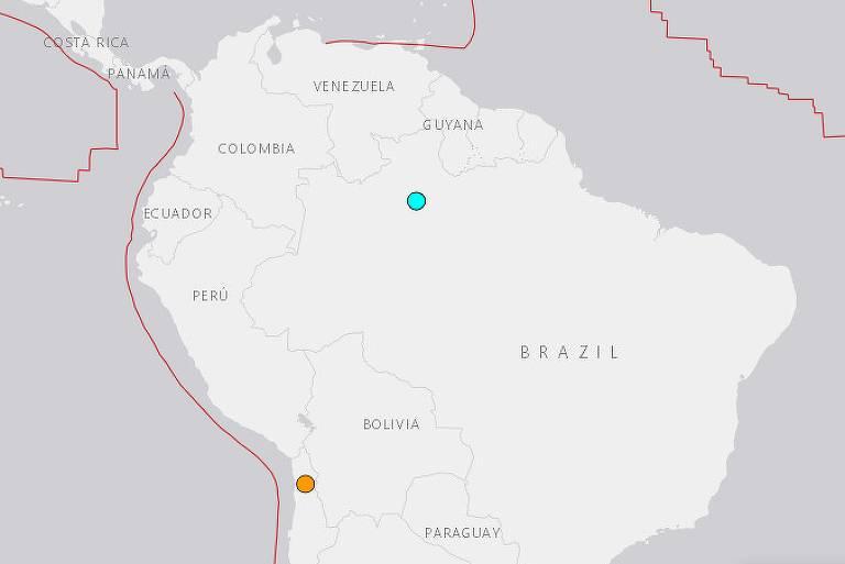 Imagem do Serviço Geológico dos Estados Unidos mostra o epicentro do terremoto