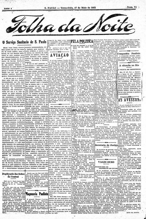 Primeira Página da Folha da Noite de 17 de maio de 1921