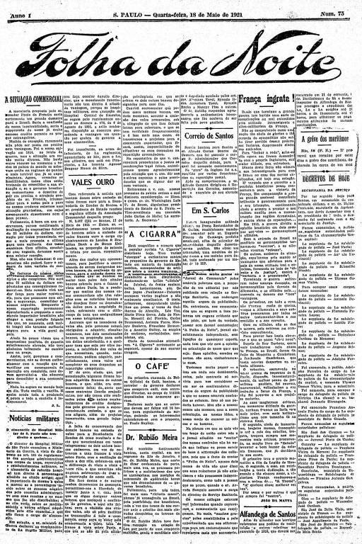 Primeira Página da Folha da Noite de 18 de maio de 1921