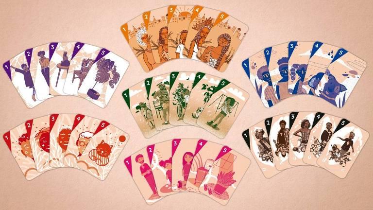 Cartas do jogo 7famílias, que está buscando apoio em financiamento coletivo