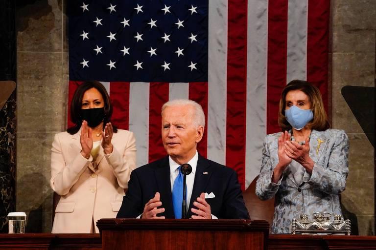 O presidente dos EUA, Joe Biden, faz seu primeiro discurso ao Congresso americano