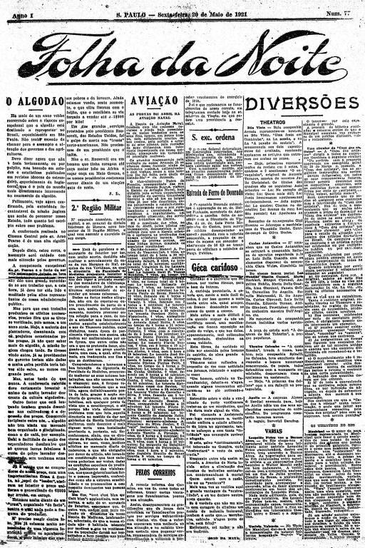 Primeira Página da Folha da Noite de 20 de maio de 1921