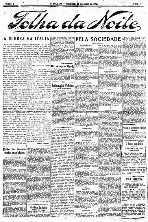 Primeira Página da Folha da Noite de 21 de maio de 1921
