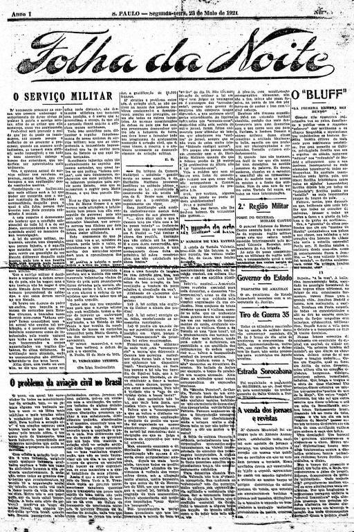 Primeira Página da Folha da Noite de 23 de maio de 1921
