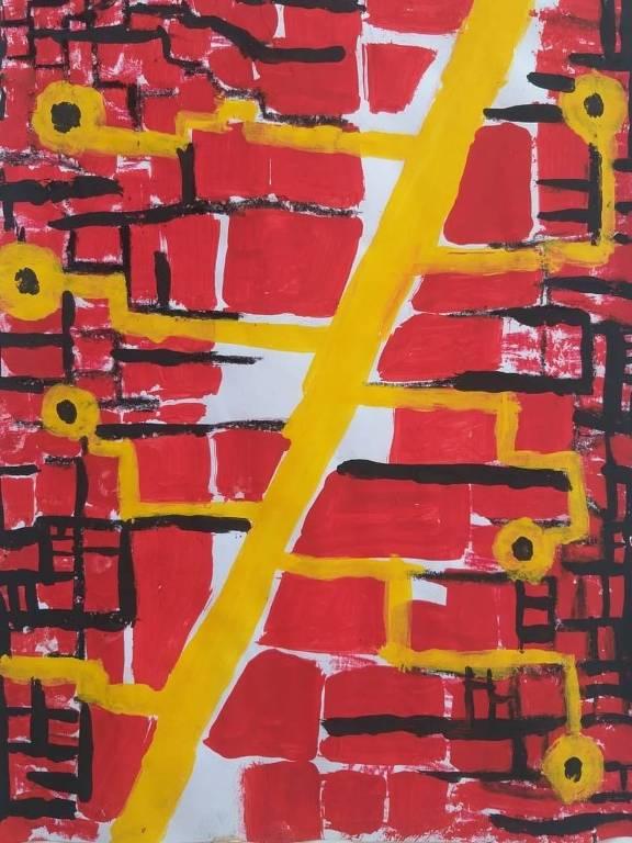 Vários tijolos vermelhos interligados por linhas amarelas, numa pintura