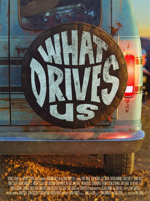 """van com roda estepe em que se inscreve """"what drives us"""""""