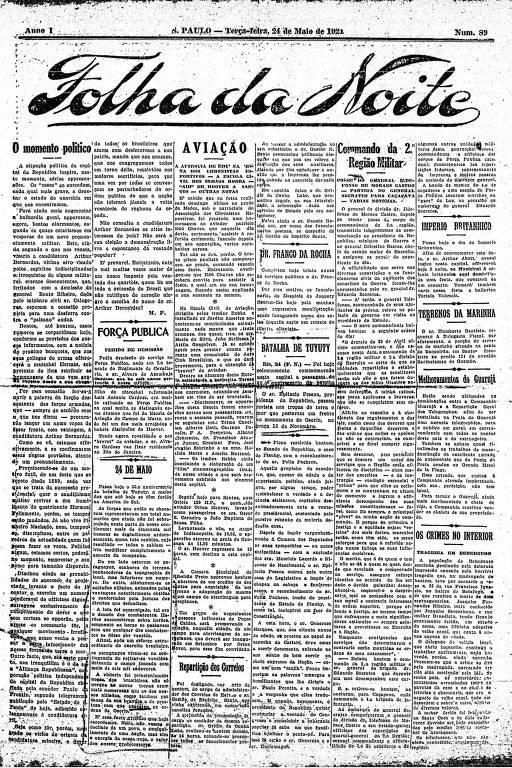 Primeira Página da Folha da Noite de 24 de maio de 1921