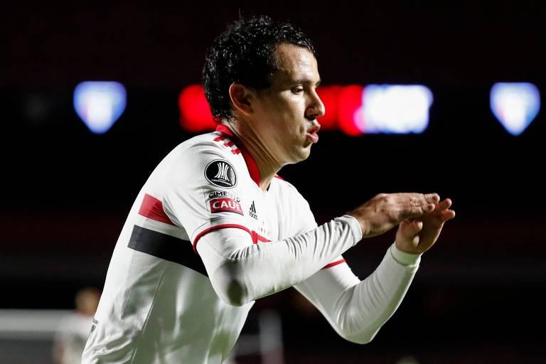 Pablo celebra o gol da vitória são-paulina sobre o Rentistas, no Morumbi