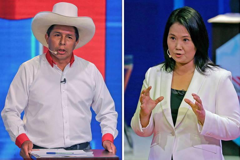 Pedro Castillo e Keiko Fujimori em debate de candidatos a presidente do Peru