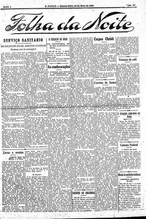 Primeira Página da Folha da Noite de 26 de maio de 1921