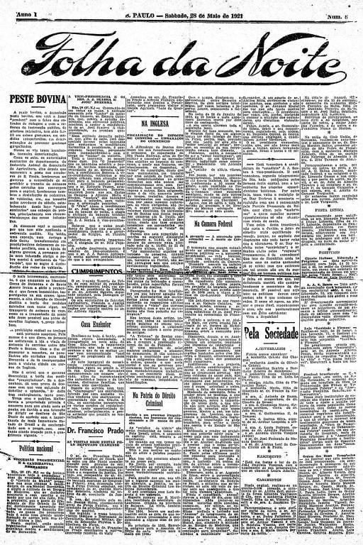 Primeira Página da Folha da Noite de 28 de maio de 1921