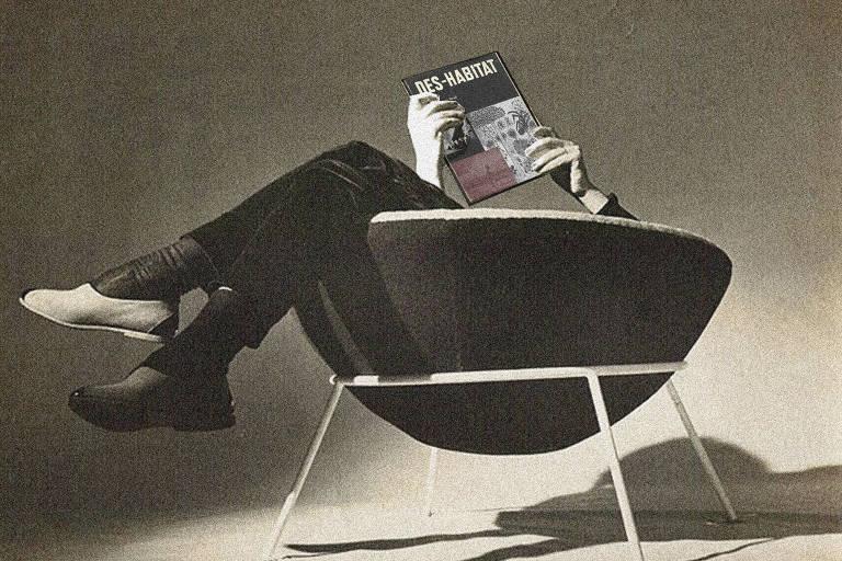 Foto em preto e branco de cadeira redonda. Nela, uma pessoa senta de pernas cruzadas e segura uma revista