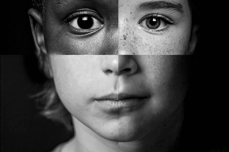 cartaz preto e branco mostra criança com tarja amarela escrito Pode Ser Abuso