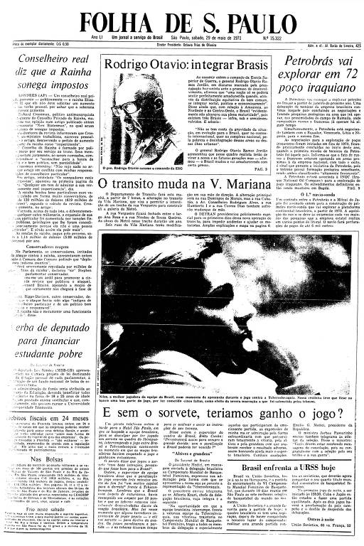 Primeira Página da Folha de 29 de maio de 1971
