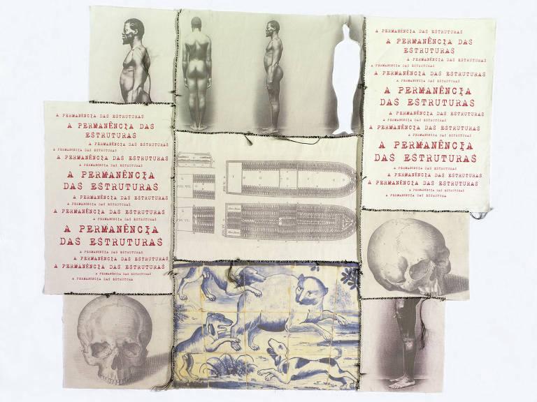 """Cartaz mostra caveiras, fotografias de corpos negros nus, desenhos de animais e alguns escritos que dizem """"a permanência das estruturas"""""""