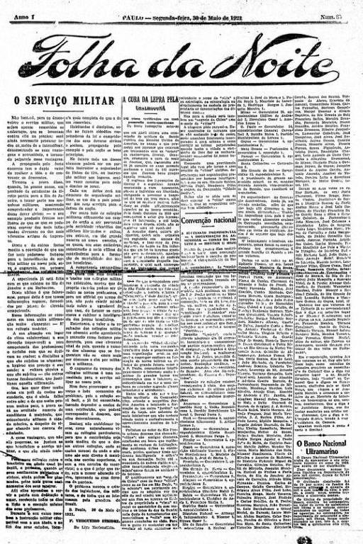 Primeira Página da Folha da Noite de 30 de maio de 1921