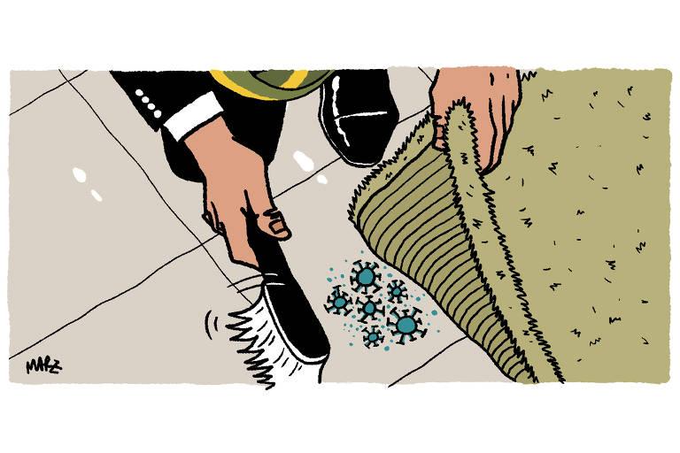 Homem de terno e uma faixa presidencial põe para baixo do tapete alguns vírus