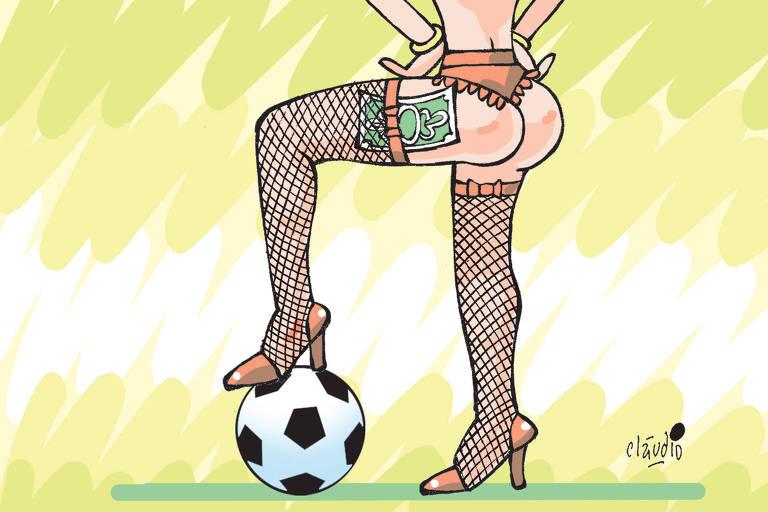 charge com uma mulher de calcinha e cinta-liga com dinheiro preso na meia pisando em uma bola de futebol