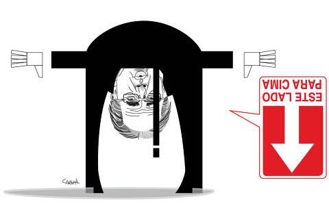 Ilustração Carvall para coluna Ombudsman no dia 02 de maio de 2021