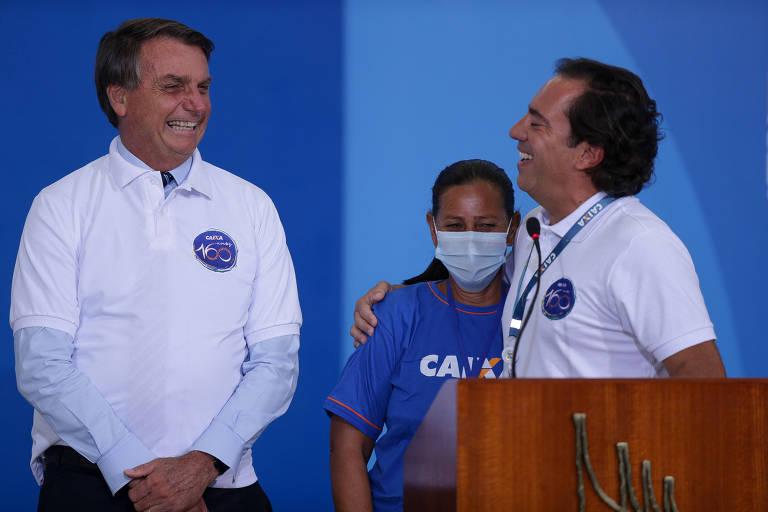 Presidente Jair Bolsonaro com o presidente da Caixa, Pedro Guimarães, em evento de comemoração dos 160 anos do banco no Palácio do Planalto