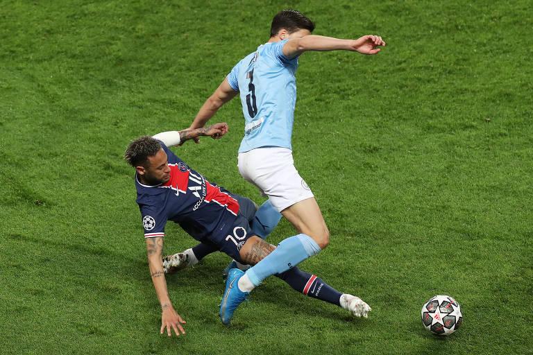 Neymar e Rúben Dias disputam a bola no jogo de ida das semifinais da Champions League