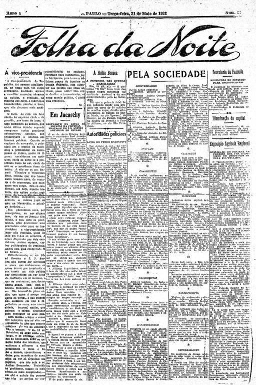 Primeira Página da Folha da Noite de 31 de maio de 1921