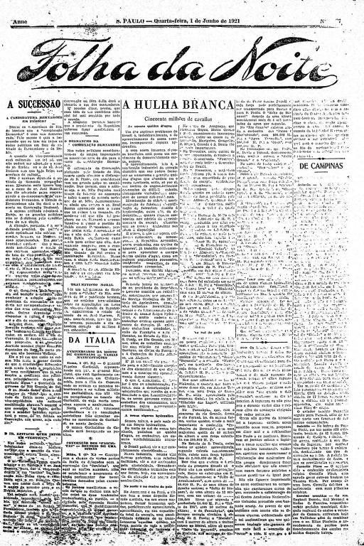 Primeira Página da Folha da Noite de 1º de junho de 1921