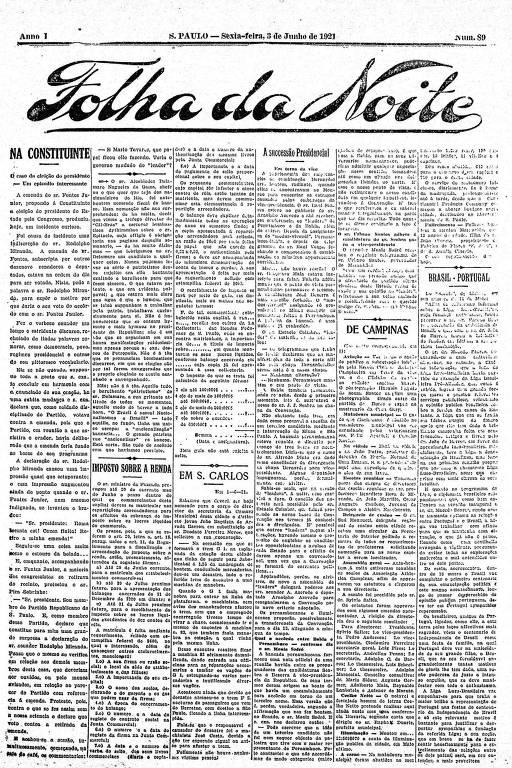 Primeira Página da Folha da Noite de 3 de junho de 1921