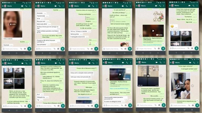 Telas de celular com conversas de whatsapp