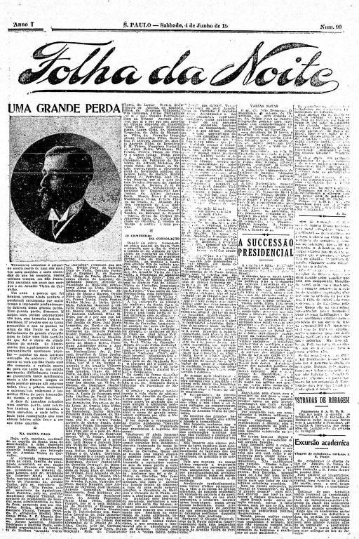 Primeira Página da Folha da Noite de 4 de junho de 1921