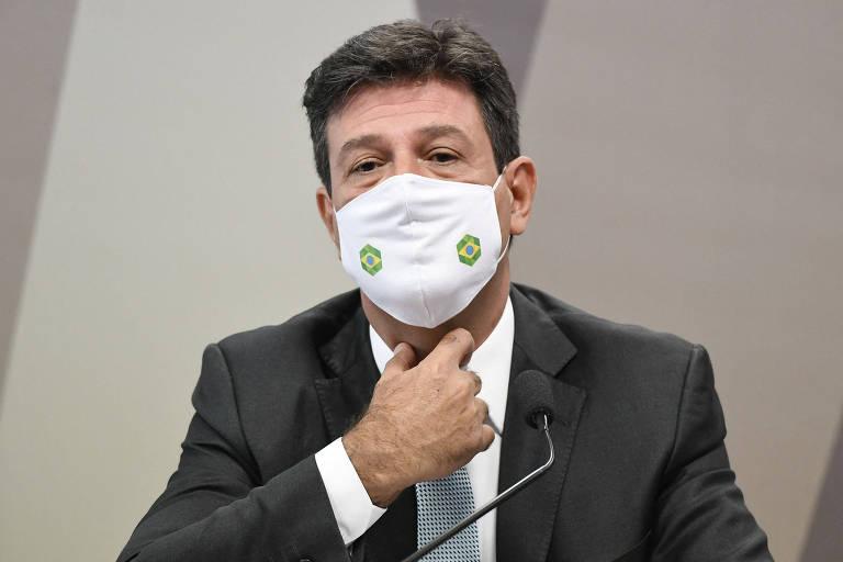 O ex-ministro Luiz Henrique Mandetta fala à CPI da Covid no Senado