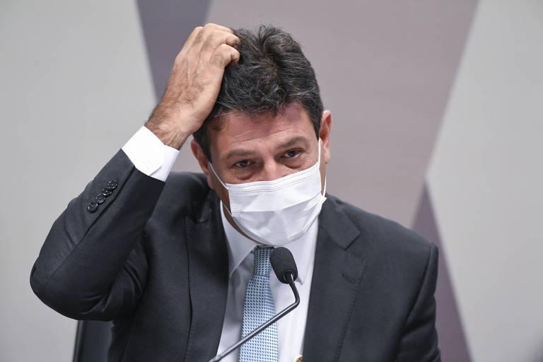 O ex-ministro Luiz Henrique Mandetta durante depoimento à CPI da Covid nesta terça-feira (4) em Brasília