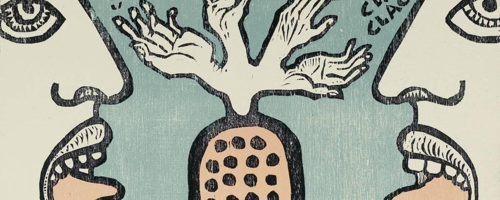'O Idolatrado', xilogravura em cores sobre papel do artista paulistano Antonio Henrique do Amaral