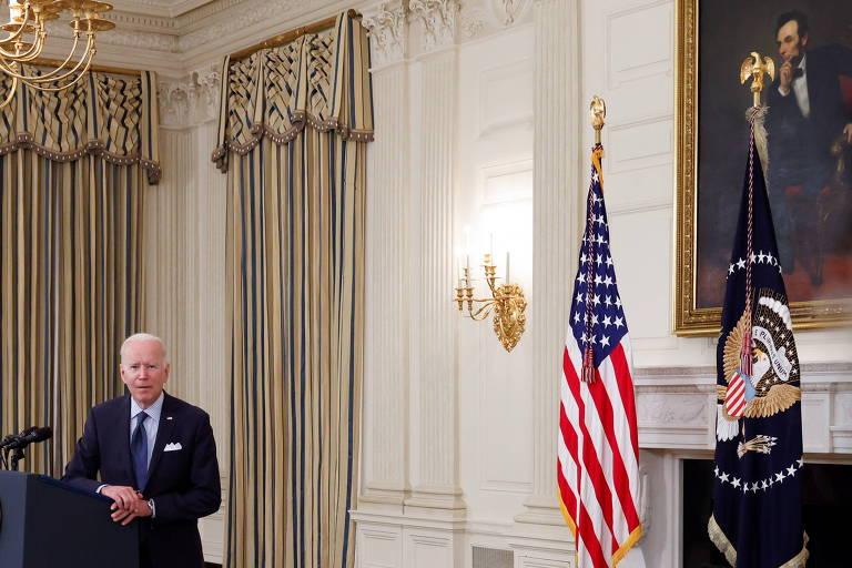 O presidente Joe Biden durante entrevista coletiva na Casa Branca, em Washington