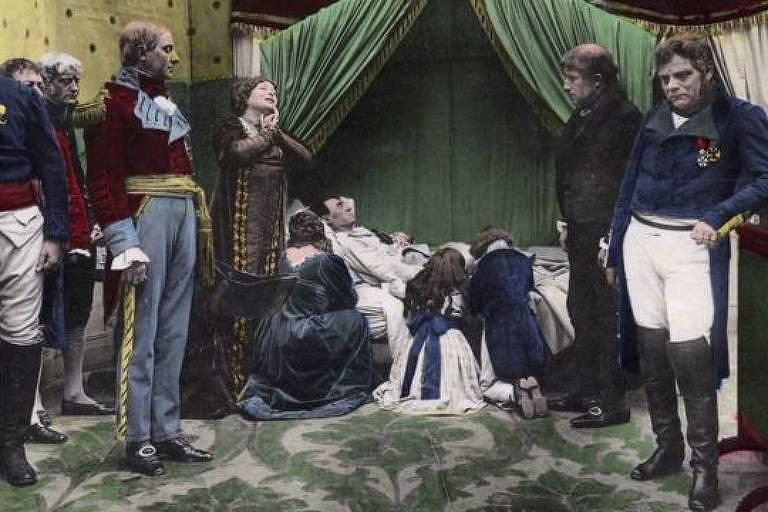 Obra retrata Napoleão Bonaparte em seu leito de morte, em 5 de maio de 1821, em Santa Helena