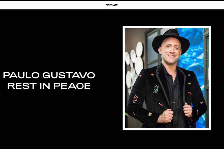 Homenagem ao Paulo Gustavo no site da cantora Beyoncé