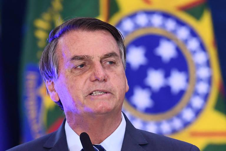 O presidente Jair Bolsonaro em evento no Palácio do Planalto nesta quarta-feira