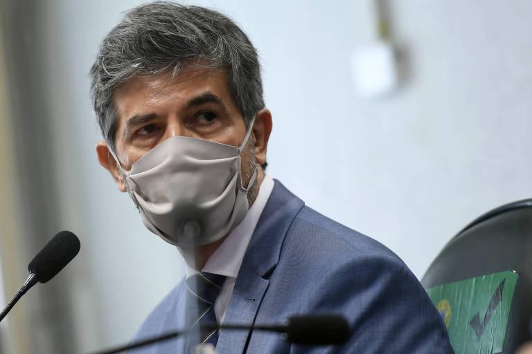 O ex-ministro da Saúde Nelson Teich durante depoimento à CPI da Covid no Senado