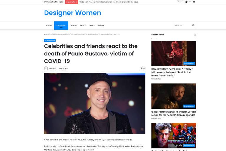 Sites internacionais repercutem a morte de Paulo Gustavo