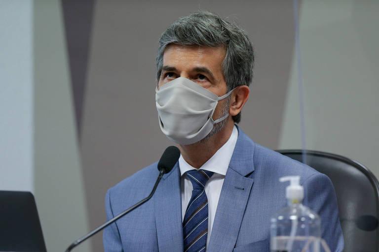 O ex-ministro da Saúde Nelson Teich durante depoimento à CPI da Covid nesta quarta-feira (5)