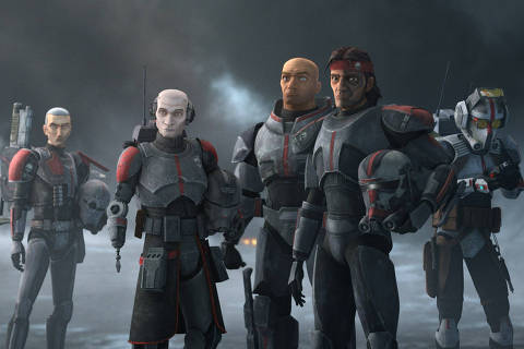 (L-R): Crosshair, Echo, Wrecker, Hunter and Tech in a scene from