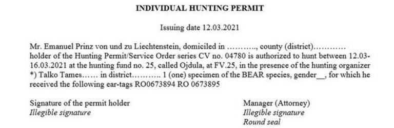 Permissão individual para caça