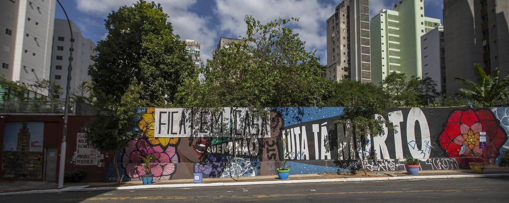 Entrada do Ocupação 9 de Julho, na região central de São Paulo