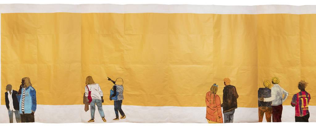 Tela retrata negros contemplando uma tela dourada em um espaço branco