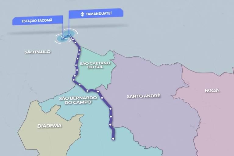 Projeto apresentado do BRT ABC, que vai ligar o metrô de SP ao ABC por ônibus expressos