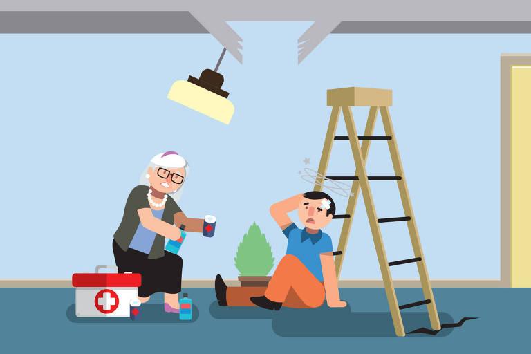 Ilustração para a coluna Nos Prédios sobre acidentes